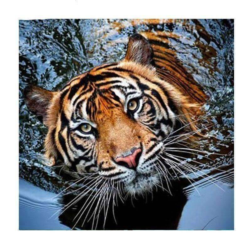 Tiger in Water - DIY 5D Diamond Painting - Full Drill-EasyWhim