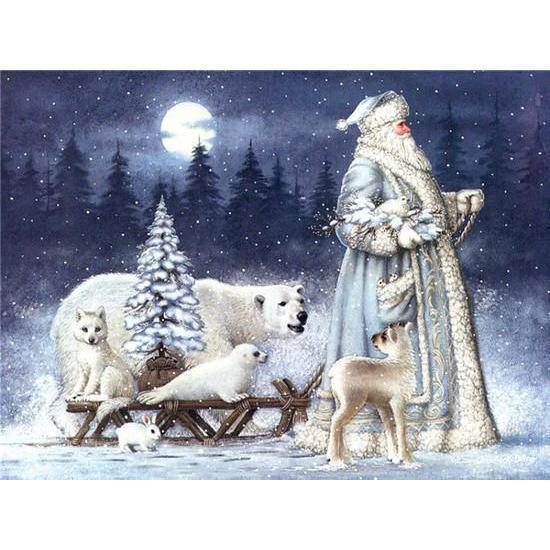 White Bear Xmas - DIY 5D Diamond Painting - Full Drill-EasyWhim