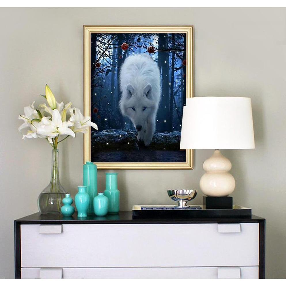Winter Forest Wolf - DIY 5D Diamond Painting - Full Drill-EasyWhim