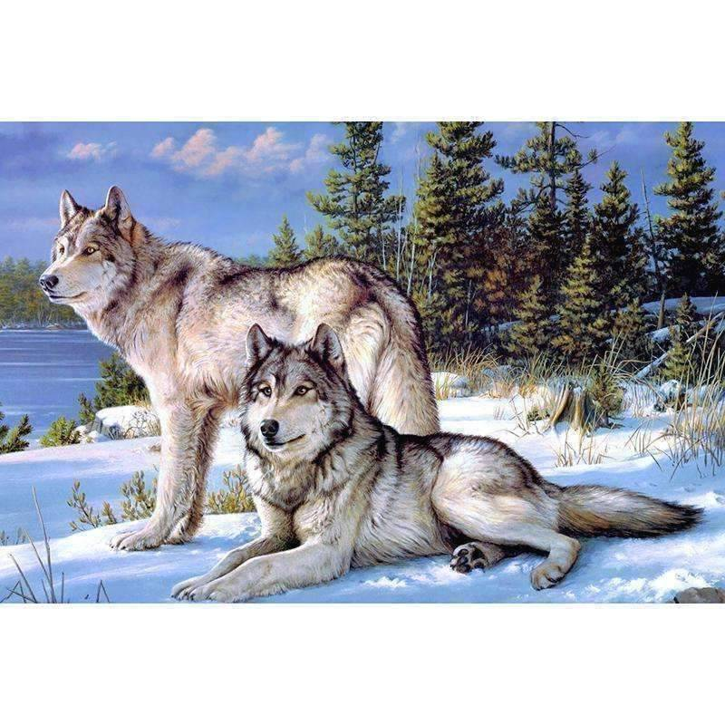 Winter Wolves - DIY 5D Diamond Painting - Full Drill-EasyWhim