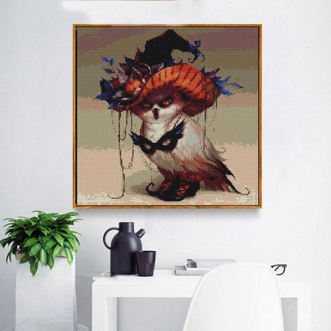 Image of Witch Owl - DIY 5D Diamond Painting - Full Drill-EasyWhim