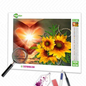 Herz Blumen Hoffnung - DIY 5D Diamond Painting (Diamanten Malerei)