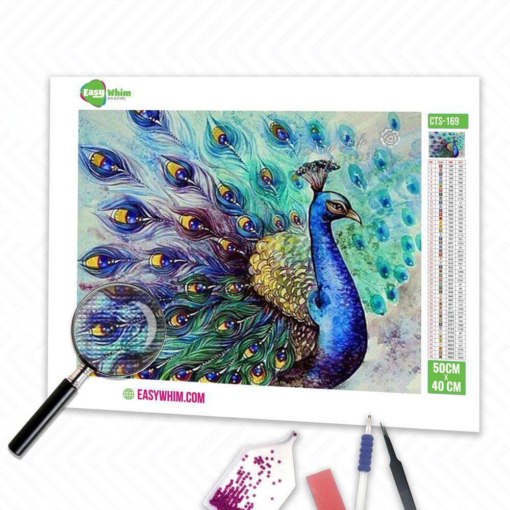 Offener Schwanz Pfau - DIY 5D Diamond Painting (Diamanten Malerei)