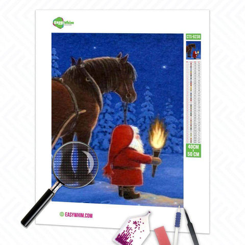 Image of Weihnachtsmann mit Pferd - DIY 5D Diamond Painting (Diamanten Malerei)