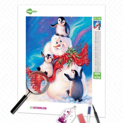 Image of Schneemann mit Pinguinen - DIY 5D Diamond Painting (Diamanten Malerei)