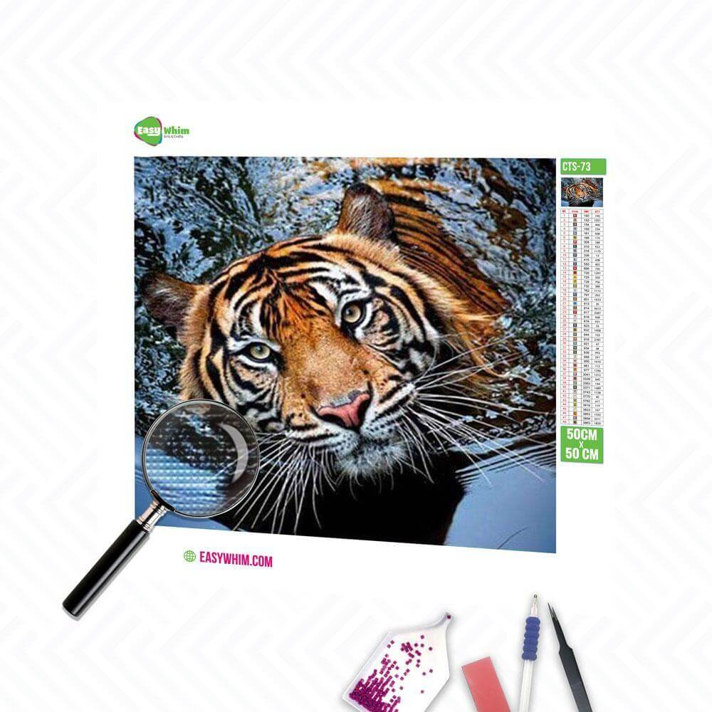 Tiger in Wasser - DIY 5D Diamond Painting (Diamanten Malerei)