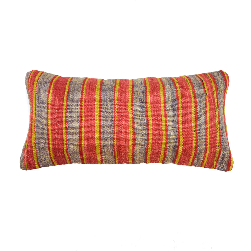 Botswana Pale Stripe Lumbar Kilim Pillow (12x24)