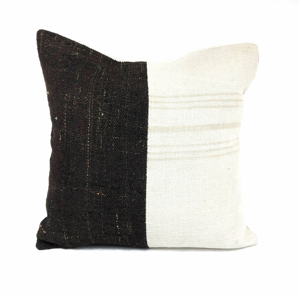 Coffee & Cream Right Striped Two Tone Kilim Pillow (24x24)