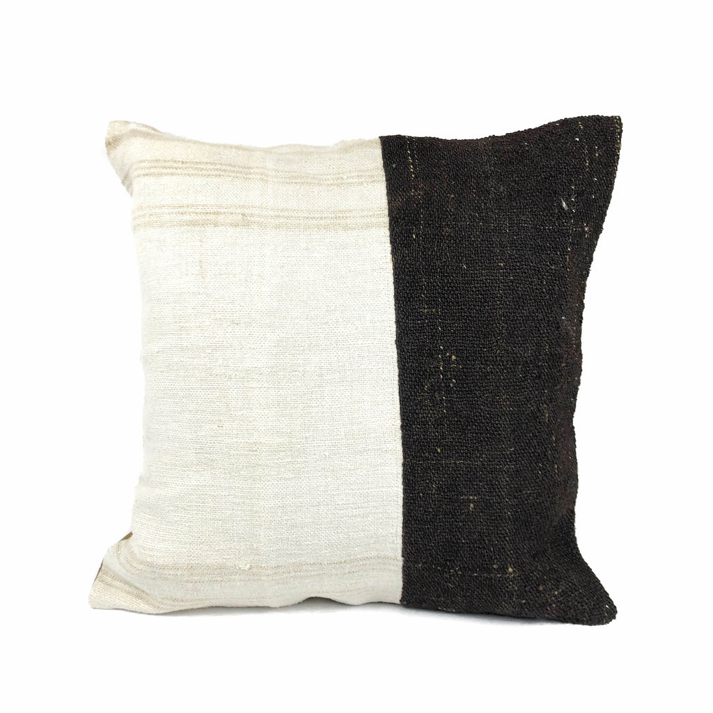 Coffee & Cream Skinny Stripe Two Tone Kilim Pillow (24x24)