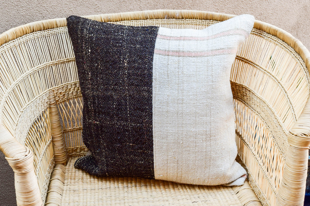 Chocolate & Pink Striped Cloud Two Tone Kilim Pillow (20x20)