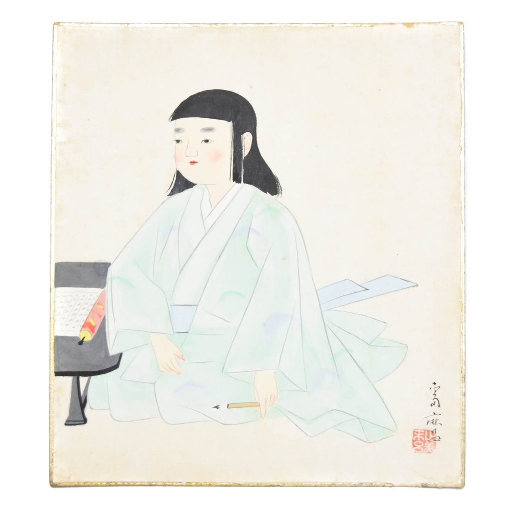 Girl in Green Japanese Shikishi Watercolor Painting