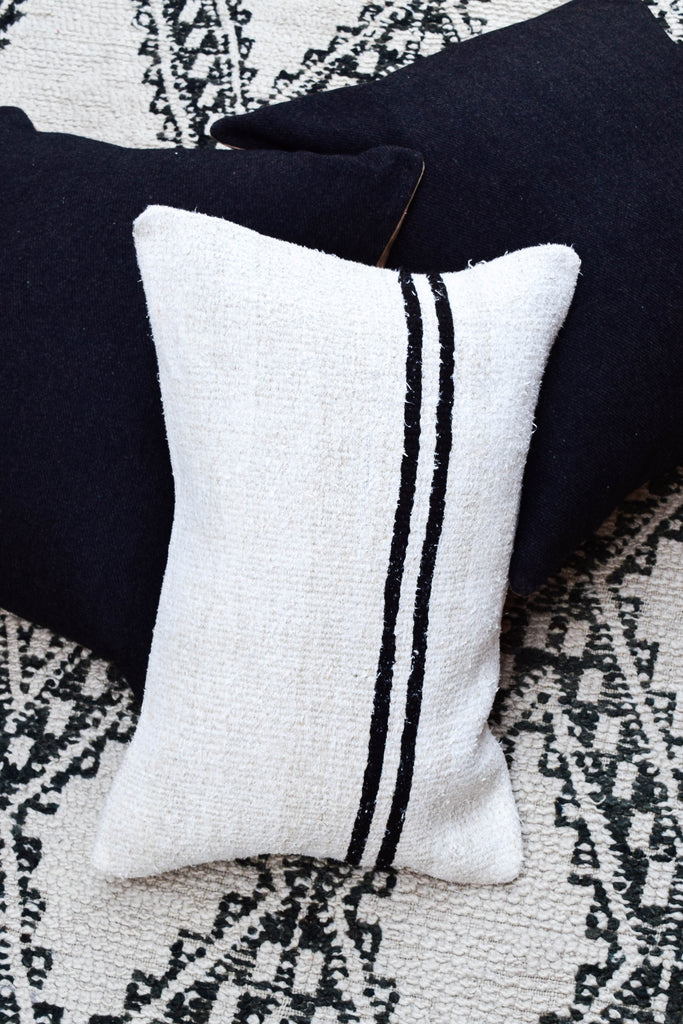 Black Striped Cream Lumbar Kilim Pillow (16x24)