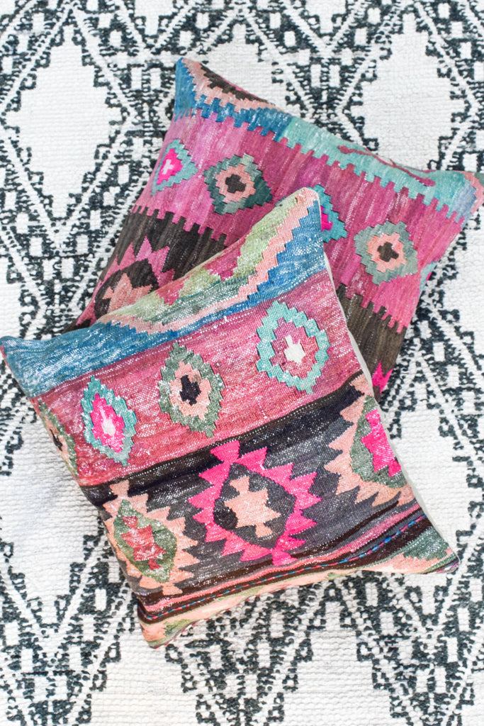 Desert Star Kilim Pillow in Coal (24x24)
