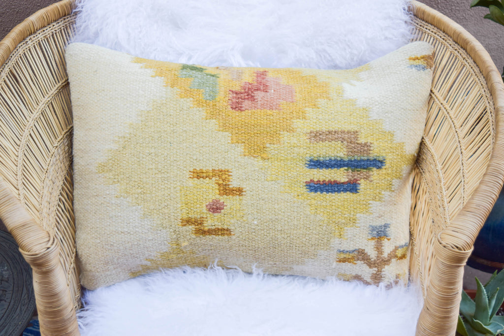 Golden Sands Diamond Lumbar Kilim Pillow (16x24)