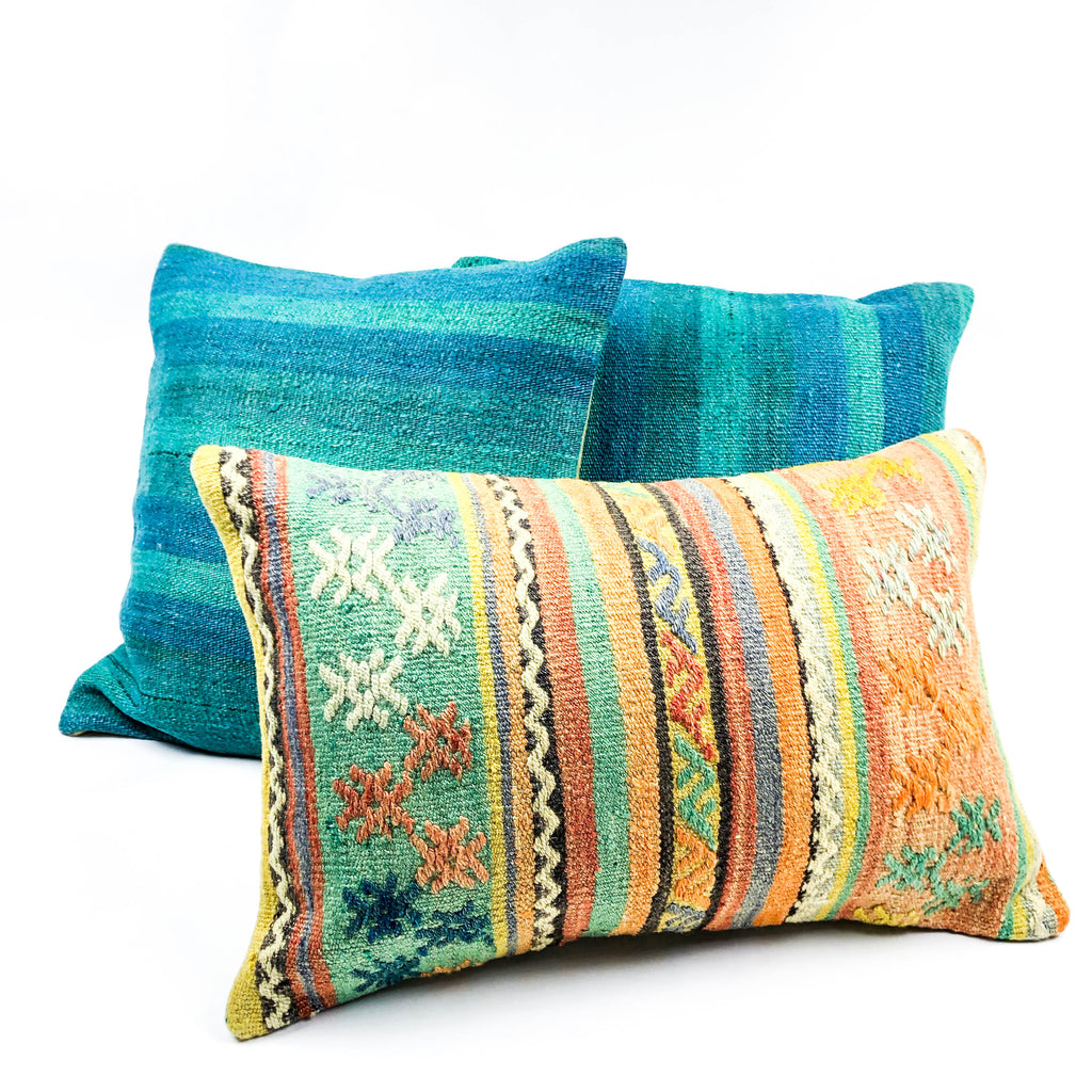 Siesta Orange Multicolor Stripe Lumbar Kilim Pillow (16x24)