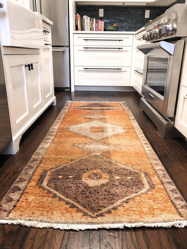 Terracotta Vintage Oushak Runner Carpet