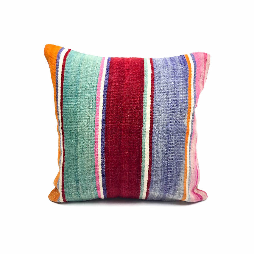 Festival Pale Purple Stripe  Kilim Pillow (20x20)