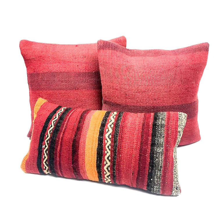 Turkish Delight Light Stripe Kilim Pillow (16x16)