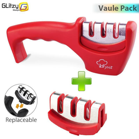 Image of red 3 stages professional knife sharpener