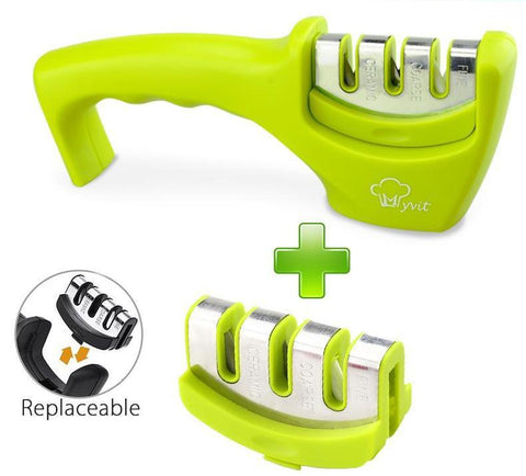 Image of green 3 stages professional knife sharpener