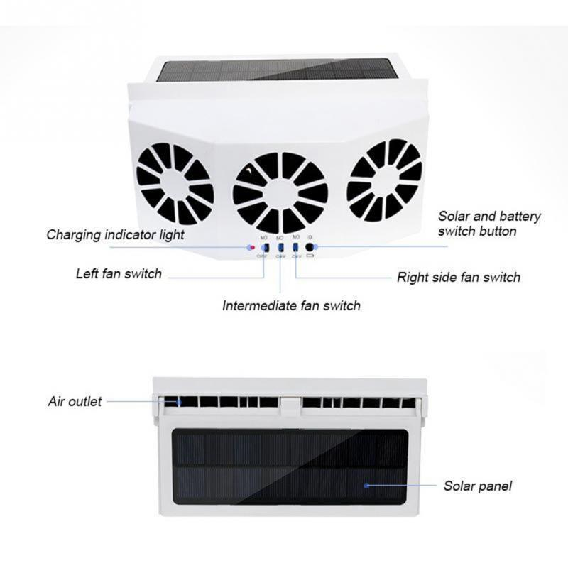 new 3 Cooler Car Fan Solar Energy Cooling Vent Exhaust Portable Safe Auto