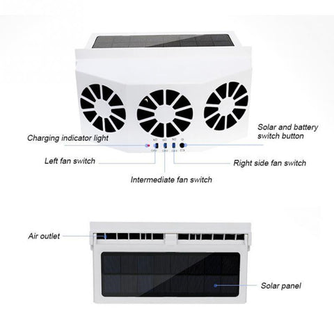 Image of new 3 Cooler Car Fan Solar Energy Cooling Vent Exhaust Portable Safe Auto