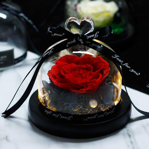 Image of Eternal Rose in Glass Dome, Enchanted Rose in Glass Dome, Red Rose in a Glass Dome, ROSE IN GLASS DOME, Eternal Red Rose on Glass Dome