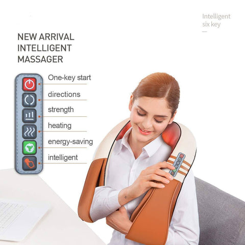 Image of best U Shape Electrical Shiatsu Back Neck Shoulder Body Massager Infrared Heated Kneading Car/Home Massagem