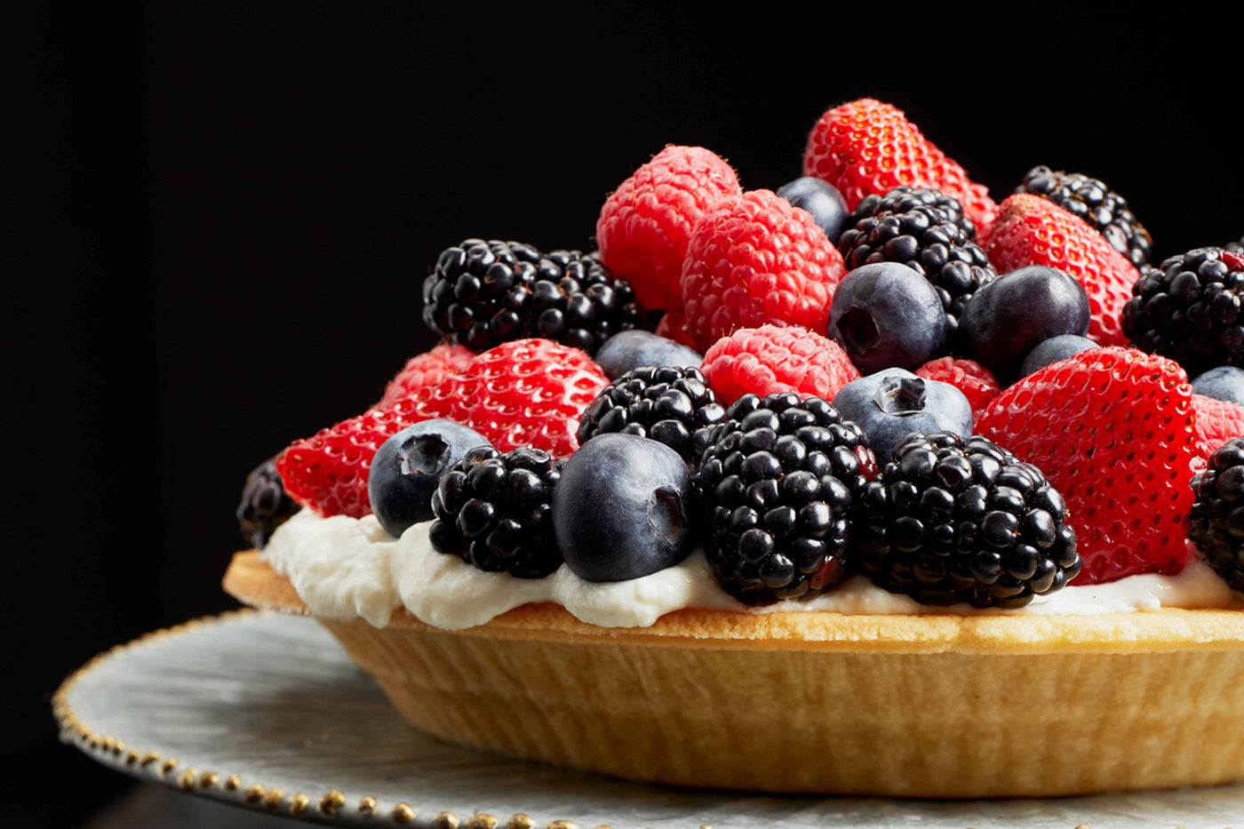 Berry pie in almond pie shell