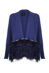 Izaak Azanei Dark Blue Embellished Trim Cardigan