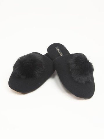 Minnie Rose Cashmere Slipper with Fur Pom Pom