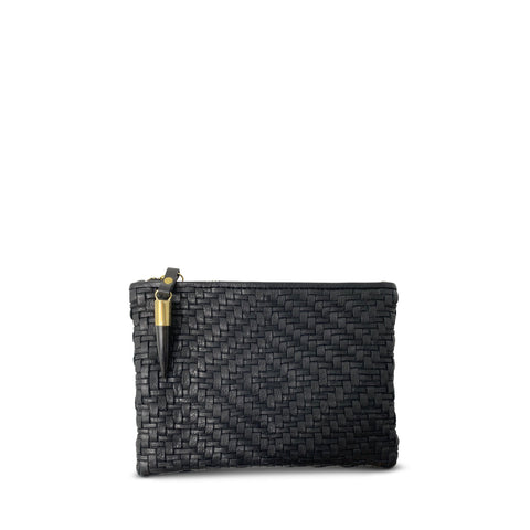 Kempton & Co. Black Woven Small Pouch