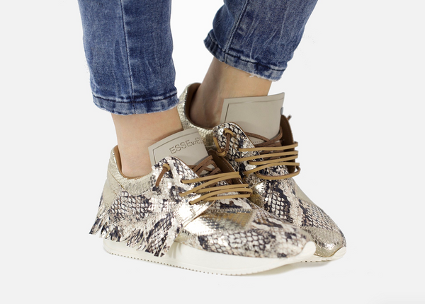 EsseUtEsse Lamb Python Leather Fringe Sneaker