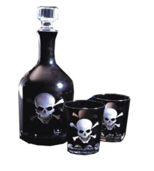 JJ Home Skull Decanter Set