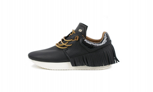 EsseUtEsse Black Leather Fringe Sneaker