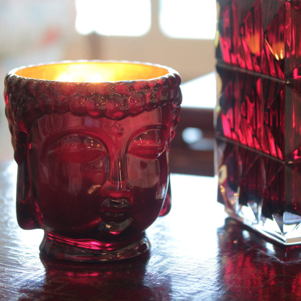 Thompson Ferrier Ruby Red Glass Buddha Candle