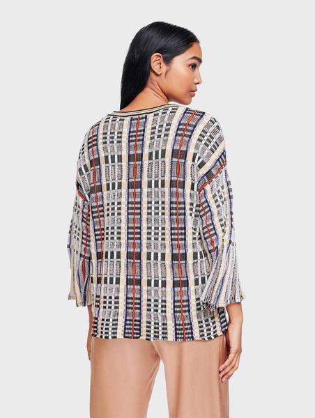 White & Warren Cotton Plaid Flare Sleeve Crewneck