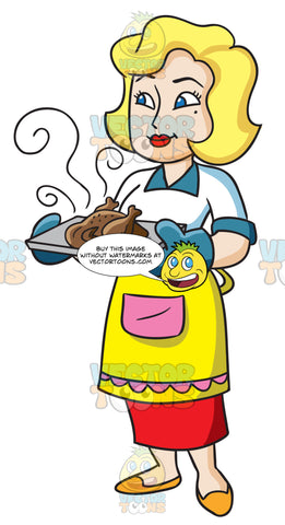 A Woman Serving Some Hot Roasted Chicken