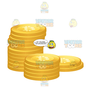 Stack Of Bitcoins Crypto-Currency