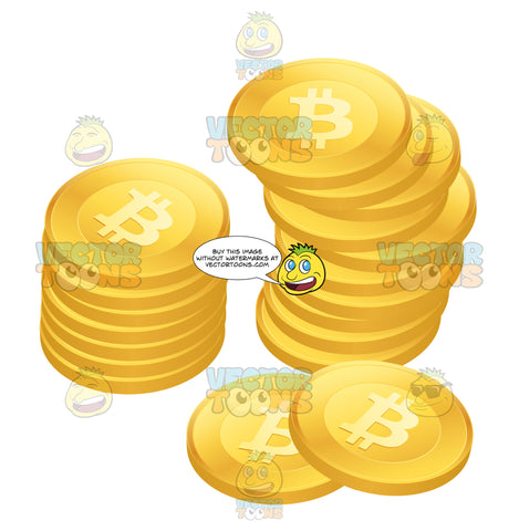 Top View Of A Stack Of Bitcoins Crypto-Currency