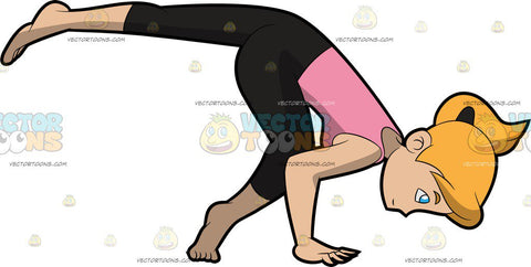 A Woman Doing A Variant Of The One Legged Crane Yoga