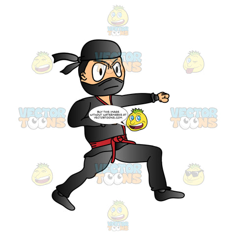 Black Ninja In Fight Stance