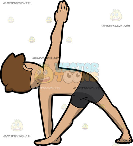A Man Doing The Revolved Triangle Yoga Pose