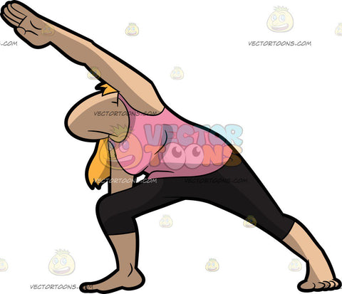 A Woman Doing The Extended Side Angle Yoga Pose