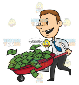 Man Happy Running With Wheelbarrow Full Of Green Money