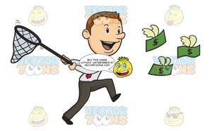 Happy Man Running, Holding Conical Butterfly Net Chasing Flying Green Dollar Bills With Wings