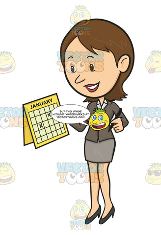 Woman In Business Attire, Holding Paper Calendar With Dates Crossed Off And Pen, Looking Pleased Excited