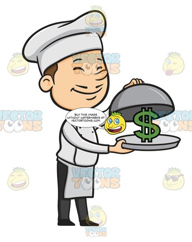 Happy Male Chef Dressed In White Apron And Hat, Holds A Silver Serving Tray And Removes Silver Food Cover Dome Revealing Green Dollar Bill Money Sign On Tray