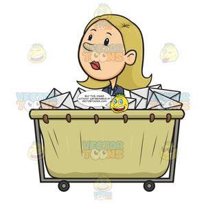 Blonde Female Woman In Suit Jacket Sitting In Canvas Mail Cart Filled With White Envelopes Looking Unhappy