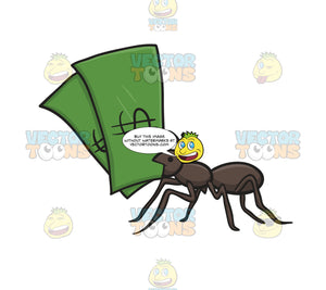 Black Ant Holding Two Green Dollar Bills In Mouth